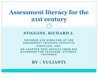 Assessment literacy for the 21st century