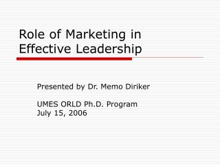 Role of Marketing in  Effective Leadership