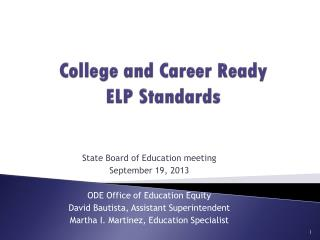 College and Career Ready ELP Standards