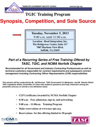 Synopsis, Competition, and Sole Source