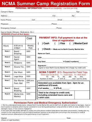 NCMA Summer Camp Registration Form