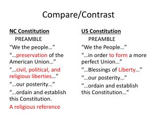 compare contrast the constitution then and Compare and contrast the articles of confederation with the new constitution of 1787 what were the strengths and weaknesses of the articles vis-à-vis the constitution give specific instances that demonstrate the weakness of the articles (such as the western problem.