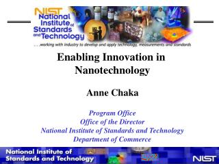 Enabling Innovation in  Nanotechnology Anne Chaka Program Office Office of the Director