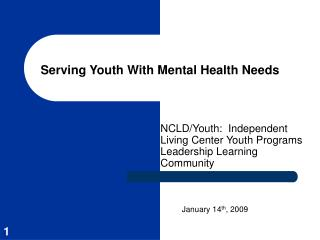 Serving Youth With Mental Health Needs
