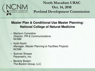 Master Plan & Conditional Use Master Planning: National College of Natural Medicine