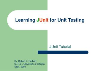 Learning  J Unit  for Unit Testing