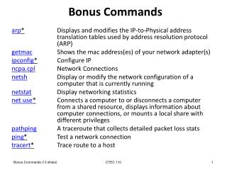 Bonus Commands