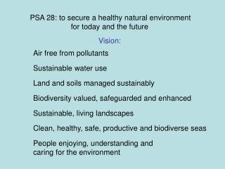PSA 28: to secure a healthy natural environment for today and the future
