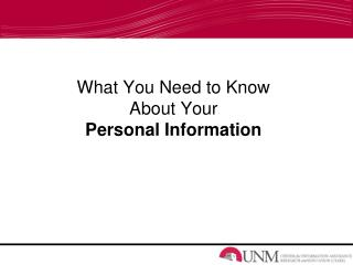 What You Need to Know About Your  Personal Information