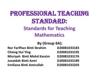 PROFESSIONAL TEACHING STANDARD: Standards for Teaching Mathematics
