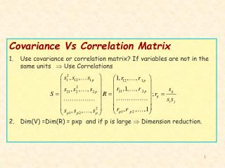 Covariance Vs Correlation Matrix