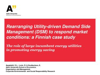 The role of large incumbent energy utilities in promoting energy saving