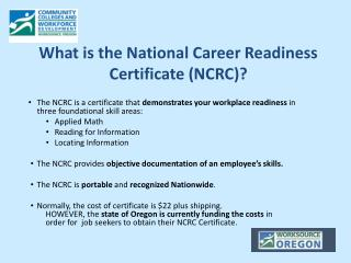 What is the National Career Readiness Certificate (NCRC)?