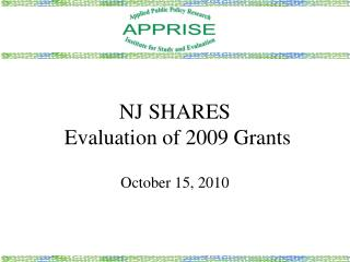 NJ SHARES   Evaluation of 2009 Grants