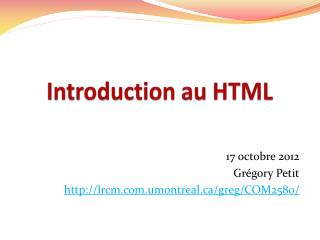 Introduction au HTML