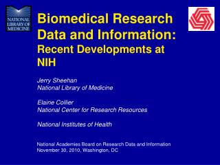 Biomedical Research Data and Information:  Recent Developments at NIH