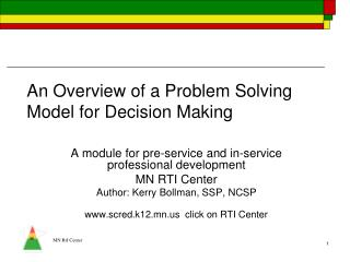 An Overview of a Problem Solving Model for Decision Making