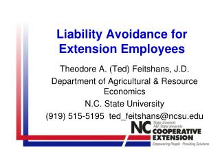 Liability Avoidance for Extension Employees