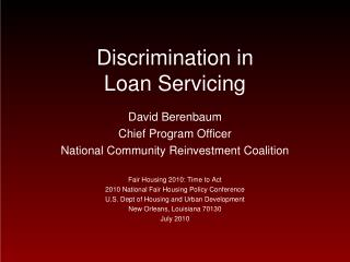 Discrimination in  Loan Servicing