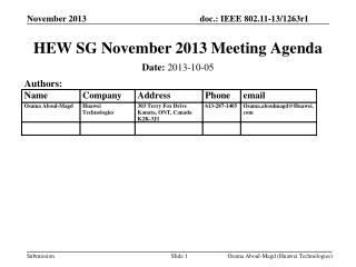 HEW SG November 2013 Meeting Agenda