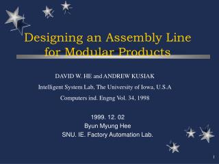 Designing an Assembly Line  for Modular Products