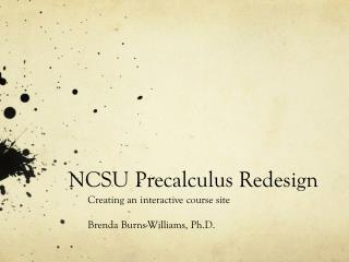 NCSU Precalculus Redesign