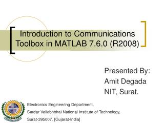 Introduction to Communications Toolbox in MATLAB 7.6.0 (R2008)