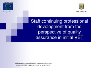 Staff continuing professional development from the perspective of quality assurance in initial VET