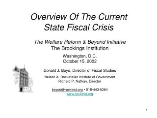 Overview Of The Current State Fiscal Crisis