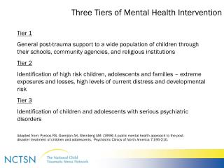 Three Tiers of Mental Health Intervention