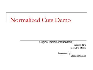 Normalized Cuts Demo