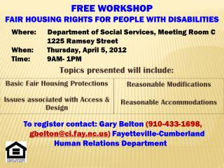 FREE WORKSHOP FAIR HOUSING RIGHTS FOR PEOPLE WITH DISABILITIES