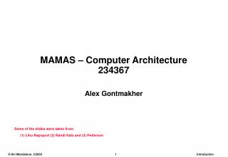 MAMAS – Computer Architecture 234367