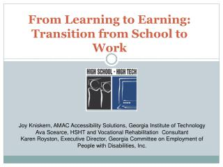 From Learning to Earning:  Transition from School to Work