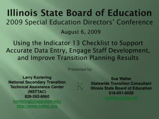 Illinois State Board of Education 2009 Special Education Directors' Conference