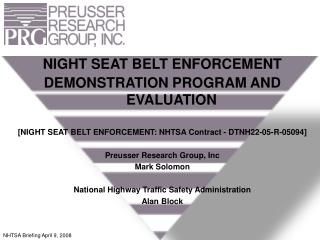 NIGHT SEAT BELT ENFORCEMENT DEMONSTRATION PROGRAM AND EVALUATION