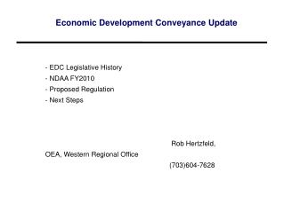 Economic Development Conveyance Update