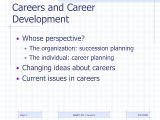 Careers and Career Development