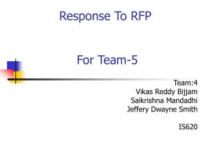 Response To RFP  For Team-5