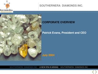 CORPORATE OVERVIEW Patrick Evans, President and CEO  July 2004