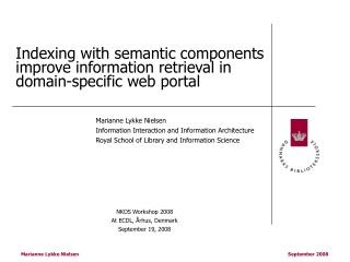 Indexing with semantic components improve information retrieval in domain-specific web portal