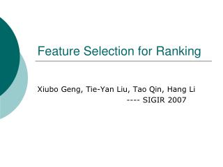 Feature Selection for Ranking