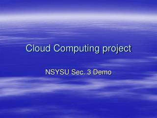 Cloud Computing project