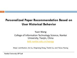 Personalized Paper Recommendation Based on User Historical Behavior