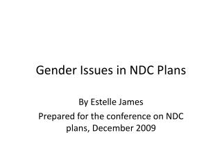 Gender Issues in NDC Plans