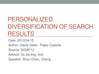PersonALIZED  Diversification of Search Results