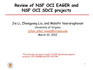 Review of NSF OCI EAGER and  NSF OCI SDCI projects