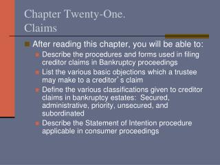 Chapter Twenty-One.   Claims