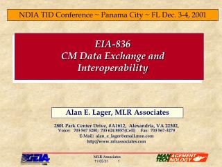 EIA-836 CM Data Exchange and Interoperability