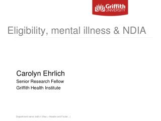 Eligibility, mental illness & NDIA